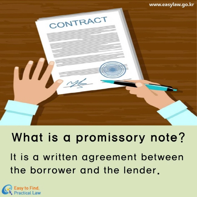 What is a promissory note? It is a written agreement between the borrower and the lender.