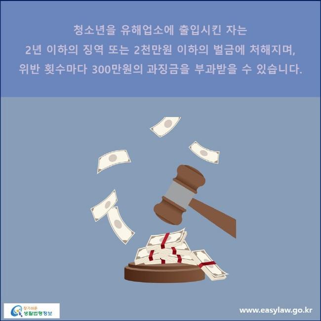 청소년을 유해업소에 출입시킨 자는 2년 이하의 징역 또는 2천만원 이하의 벌금에 처해지며, 위반 횟수마다 300만원의 과징금을 부과받을 수 있습니다.