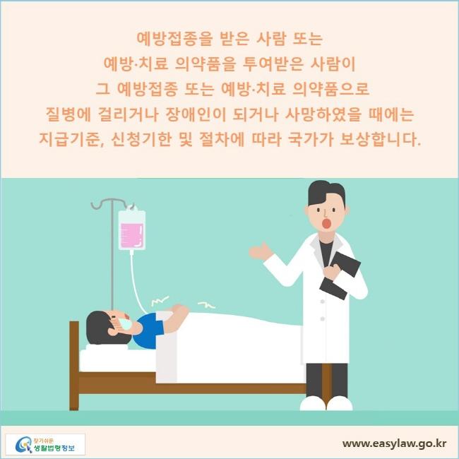 예방접종을 받은 사람 또는 예방·치료 의약품을 투여받은 사람이 그 예방접종 또는 예방·치료 의약품으로 질병에 걸리거나 장애인이 되거나 사망하였을 때에는 지급기준, 신청기한 및 절차에 따라 국가가 보상합니다.