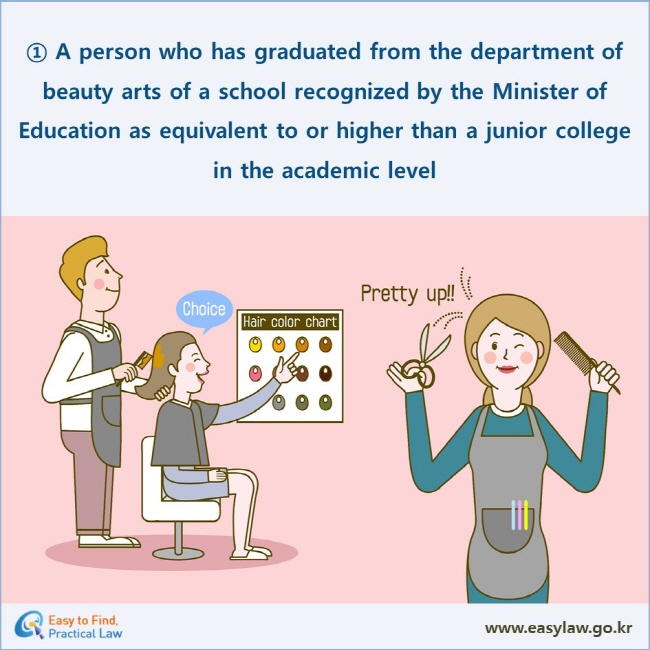 ① A person who has graduated from the department of beauty arts of a school recognized by the Minister of Education as equivalent to or higher than a junior college in the academic level