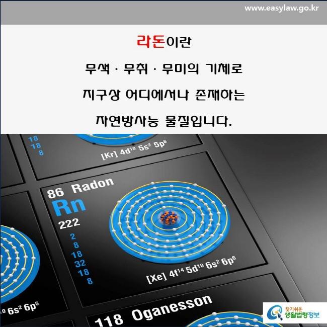 라돈이란?(2-2-1)  라돈이란 무색ㆍ무취ㆍ무미의 기체로 지구상 어디에서나 존재하는  자연방사능 물질입니다(국립환경과학원, 생활환경정보센터).