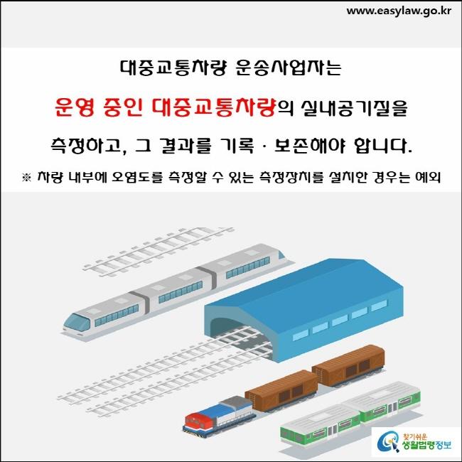대중교통차량 운송사업자는 운영 중인 대중교통차량의 실내공기질을 측정하고, 그 결과를 기록ᆞ보존해야 합니다.  ※ 차량 내부에 오염도를 측정할 수 있는 측정장치를 설치한 경우는 예외