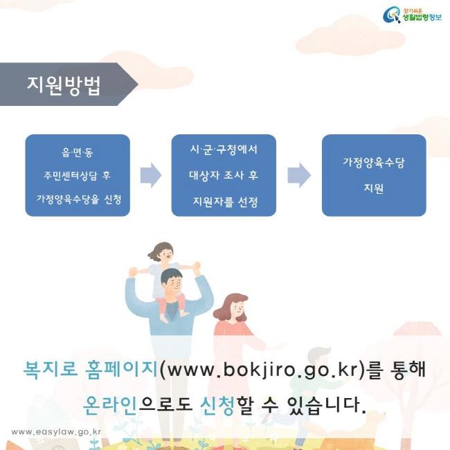 읍∙면∙동  주민센터상담 후  가정양육수당을 신청 시∙군∙구청에서  대상자 조사 후  지원자를 선정  가정양육수당 지원 복지로 홈페이지(www.bokjiro.go.kr)를 통해  온라인으로도 신청할 수 있습니다.