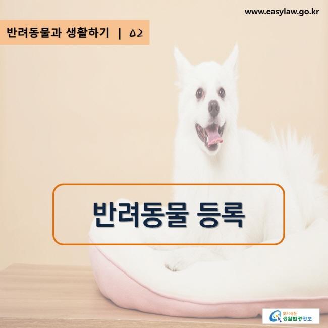 www.easylaw.go.kr, 찾기 쉬운 생활법령정보 로고, 반려동물과 생활하기 | 02, 반려동물 등록