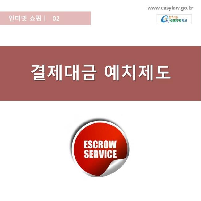 인터넷 쇼핑 | 02 결제대금 예치제도 www.easylaw.go.kr 찾기쉬운 생활법령 로고