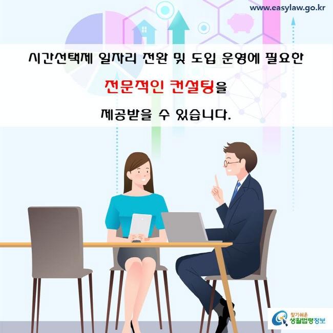 시간선택제 일자리 전환 및 일자리 도입 운영에 필요한 전문적인 컨설팅을 제공받을 수 있습니다.