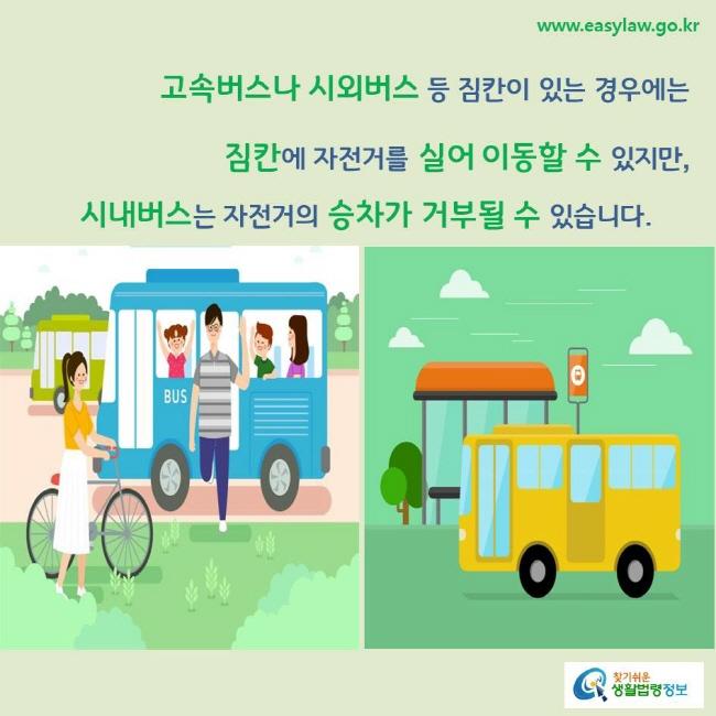 고속버스나 시외버스 등 짐칸이 있는 경우에는 짐칸에 자전거를 실어 이동할 수 있지만, 시내버스는 자전거의 승차가 거부될 수 있습니다.