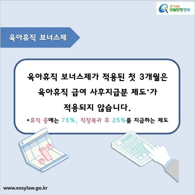 육아휴직 보너스제  육아휴직 보너스제가 적용된 첫 3개월은  육아휴직 급여 사후지급분 제도*가  적용되지 않습니다. *휴직 중에는 75%, 직장복귀 후 25%를 지급하는 제도