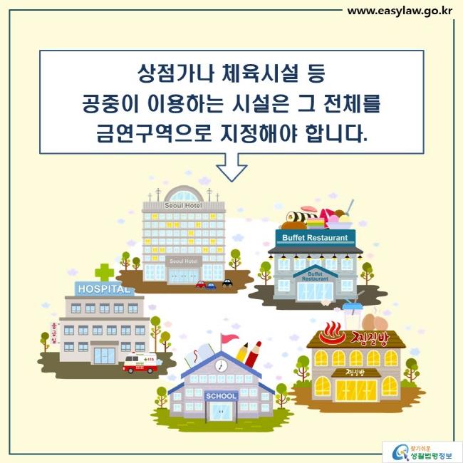 상점가나 체육시설 등 공중이 이용하는 시설은 그 전체를 금연구역으로 지정해야 합니다.