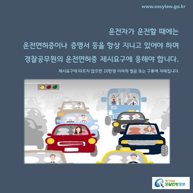 운전자가 운전할 때에는  운전면허증이나 증명서 등을 항상 지니고 있어야 하며 경찰공무원의 운전면허증 제시요구에 응해야 합니다. 제시요구에 따르지 않으면 20만원 이하의 벌금 또는 구류에 처해집니다.