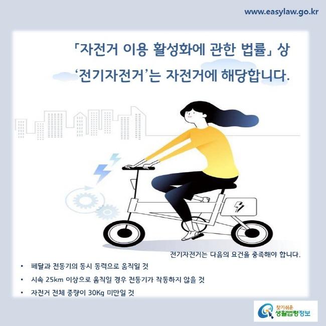 「자전거 이용 활성화에 관한 법률」 상 '전기자전거'는 자전거에 해당합니다.   전기자전거는 다음의 요건을 충족해야 합니다. 페달과 전동기의 동시 동력으로 움직일 것 시속 25km 이상으로 움직일 경우 전동기가 작동하지 않을 것 자전거 전체 중량이 30Kg 미만일 것