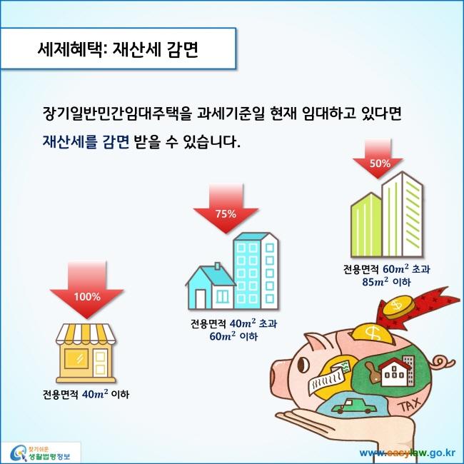 세제혜택: 재산세 감면  장기일반민간임대주택을 과세기준일 현재 임대하고 있다면 재산세를 감면 받을 수 있습니다.