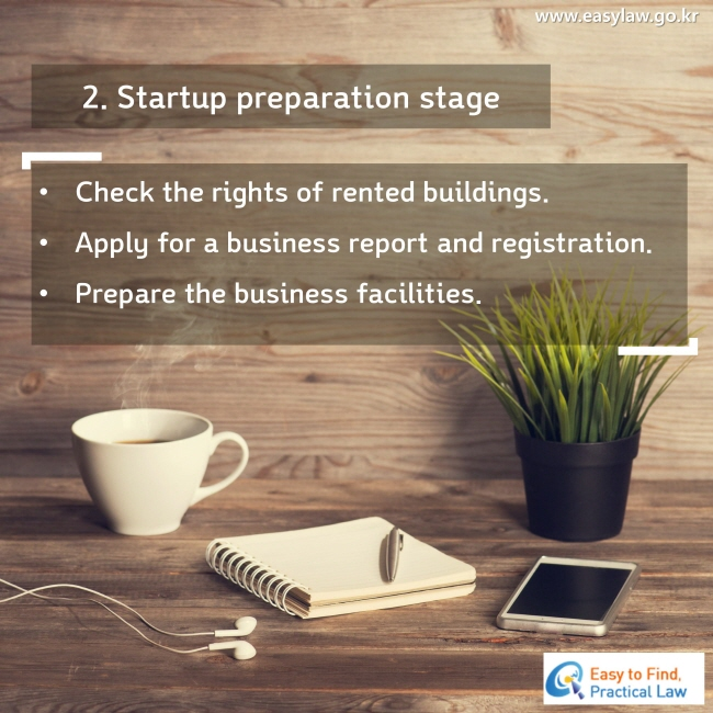 2. Startup preparation stage Check the rights of rented buildings. Apply for a business report and registration. Prepare the business facilities.