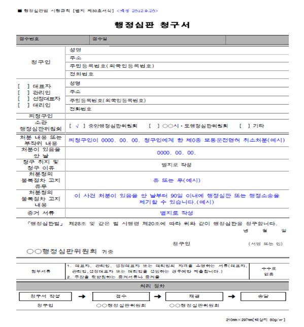 자동차운전면허취소처분 관련 행정심판청구서 작성례