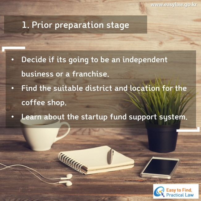 1. Prior preparation stage Decide if its going to be an independent business or a franchise. Find the suitable district and location for the coffee shop. Learn about the startup fund support system.