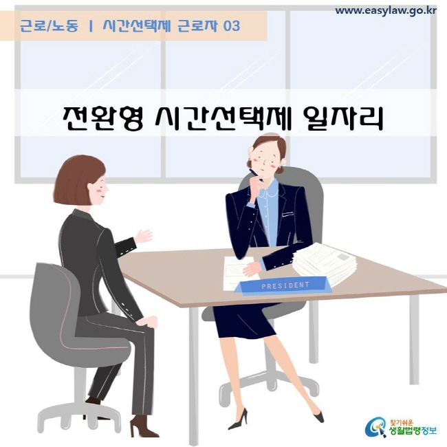 근로/노동 시간선택제 근로자 03 전환형 시간선택제 일자리 www.easylaw.go.kr  찾기쉬운 생활법령정보 로고