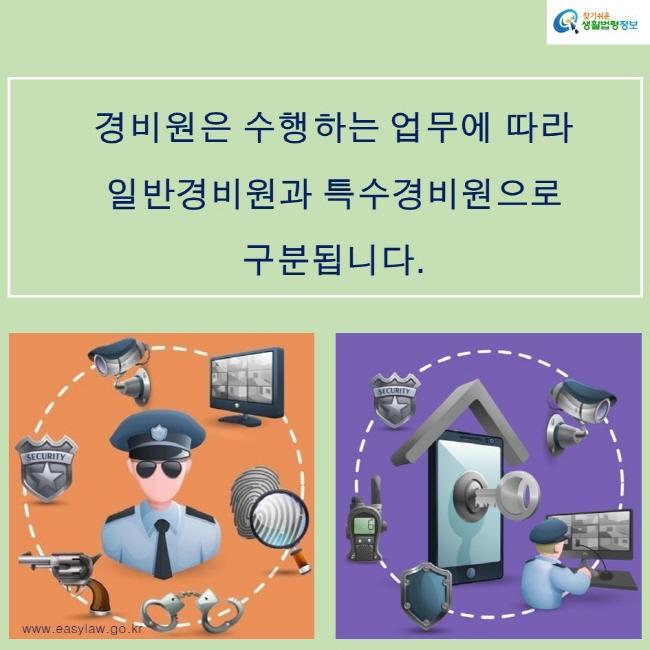 찾기쉬운생활법령정보 로고 www.easylaw.go.kr 경비원은 수행하는 업무에 따라 일반경비원과 특수경비원으로  구분됩니다.