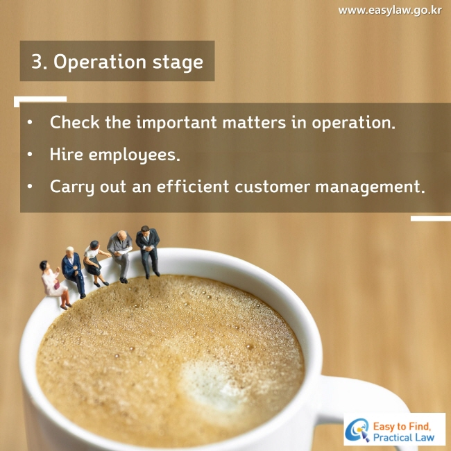 3. Operation stage Check the important matters in operation. Hire employees. Carry out an efficient customer management.