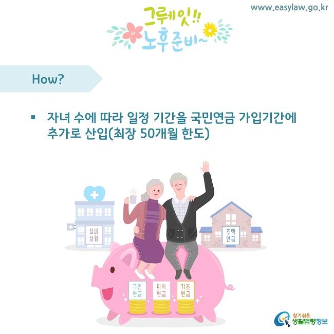 www.easylaw.go.kr How? 자녀 수에 따라 일정 기간을 국민연금 가입기간에 추가로 산입(최장 50개월 한도) 찾기쉬운 생활법령정보 로고