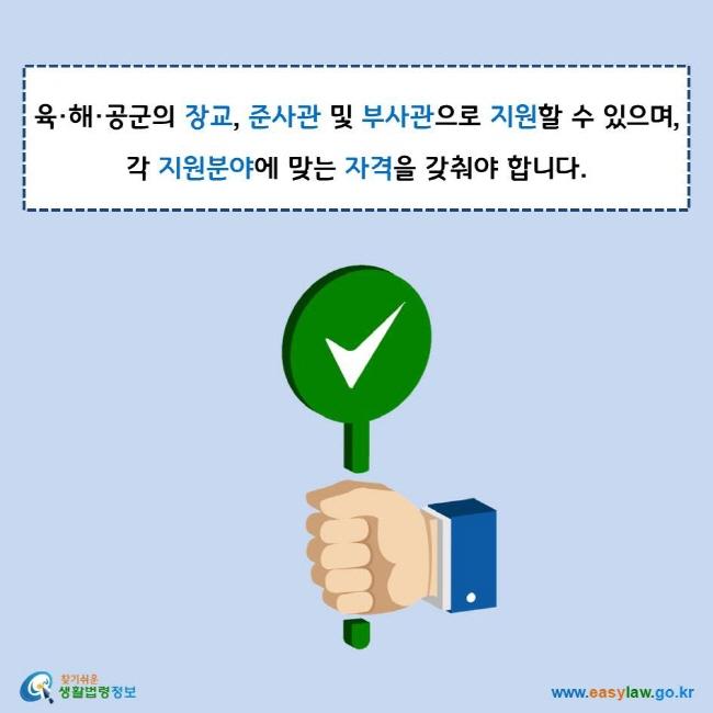 육·해·공군의 장교, 준사관 및 부사관으로 지원할 수 있으며, 각 지원분야에 맞는 자격을 갖춰야 합니다. 찾기쉬운 생활법령정보 로고 www.easylaw.go.kr