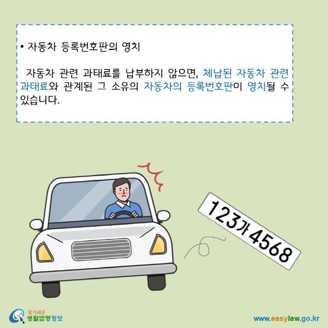 • 자동차 등록번호판의 영치 자동차 관련 과태료를 납부하지 않으면, 체납된 자동차 관련 과태료와 관계된 그 소유의 자동차의 등록번호판이 영치될 수 있습니다. 찾기쉬운 생활법령정보 로고  www.easylaw.go.kr