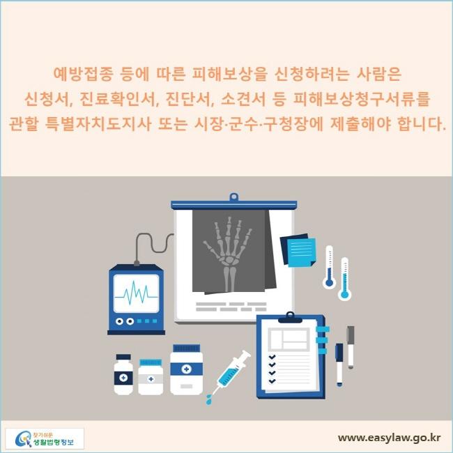 예방접종 등에 따른 피해보상을 신청하려는 사람은 신청서, 진료확인서, 진단서, 소견서 등 피해보상청구서류를 관할 특별자치도지사 또는 시장·군수·구청장에 제출해야 합니다.